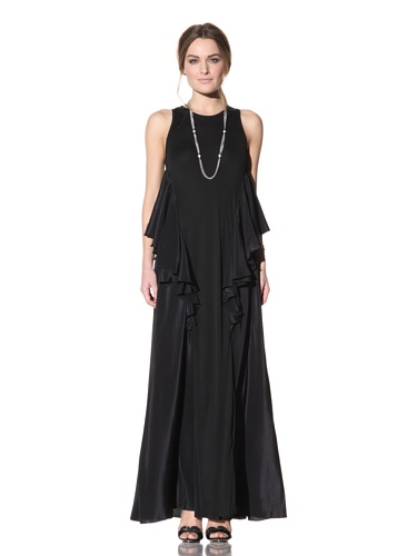 Behnaz Sarafpour Women's Sleeveless Flounce Gown (Black)