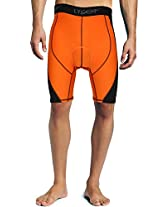Lycot 5T Active Compression Padded Cycling Shorts Base Layer Running Tights for Mens & Women Orange/Black 4XL
