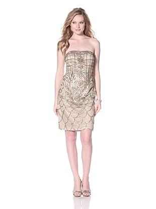 Sue Wong Women's Strapless Dress (Beige)
