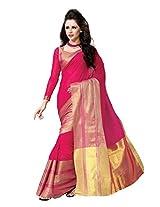 SareeStudio Rani Pink Causal Wear Saree Zari Work Printed Pallu Cotton Sari