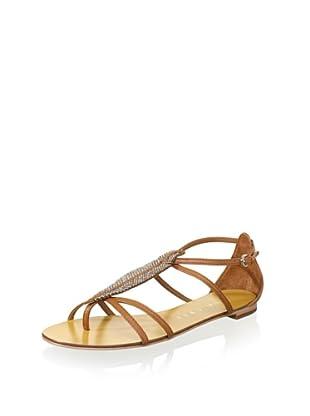 Lola Cruz Women's Feather Flat Sandal (Cuero)