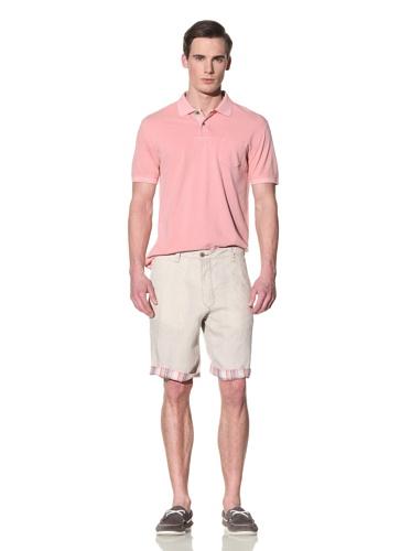 Tailor Vintage Men's Linen Reversible Short (Natural/Coral Plaid)