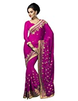Suvastram Women Chiffon Embroidred Pink Saree