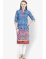 Blue Embroidered Kurtas Vishudh