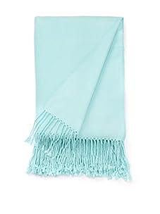 """pür cashmere Velvet Throw with Long Tassel Fringe, 50"""" x 65"""" (Tiffany Blue)"""