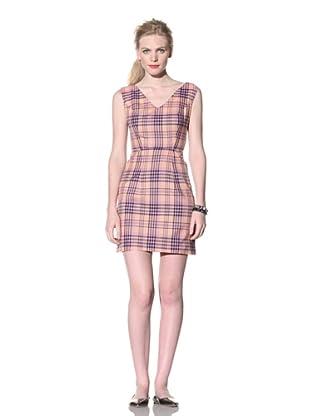 House of Holland Women's V-Neck Tartan Dress (Peach)
