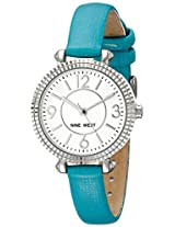 Nine West Women's NW/1715WTTQ Silver-Tone Case Turquoise Strap Watch