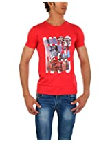 Wow Men's Cotton Half Sleeve Shirt( Red,L)