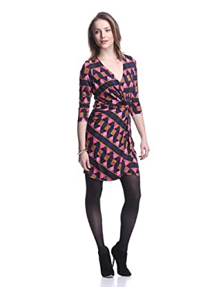 JB by Julie Brown Women's Dixon Knot Front Long Sleeve Dress (Pink Fairisle)