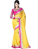 D Fashion Hub Women's Chiffon Saree with Blouse Piece (DSAREE101_Yellow and Pink)