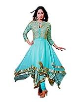 Zerel Blue Unique Zig Zag Layered Anarkali Semi Stitched Salwar Suit