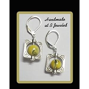 B Jeweled Square Earrings