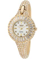 Burgi Women's BU40YG Round Diamond Crystal Gold-tone Bangle Quartz Watch