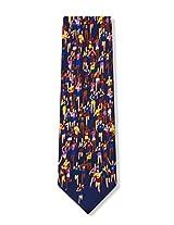 Men's 100% Silk Navy Blue Marathon Runner Running Necktie Neck Tie Neckwear