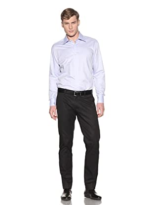 Valentino Men's Dress Shirt (Light Blue/White Wide Stripe)