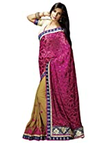 Manvaa Appealing Pink And Beige saree with blouse piece