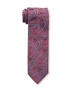 Bruno Piattelli Men's Paisley Silk Tie, Red Navy