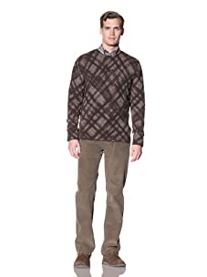 Hickey Freeman Sterling Men's Crew Neck Sweater with Reverse Seam Detail (Brown)