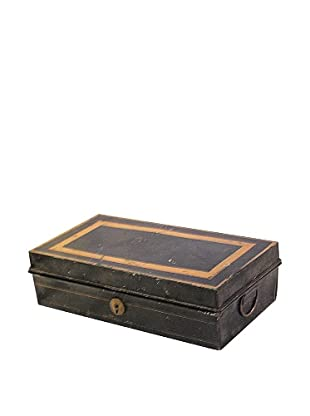 Tin Box with Lock, Black/Gold
