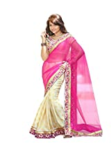 Trynget'S Pink & Cream Color Half-Half Branded Saree