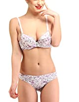 Glus Yadiali Satin Purple Love Push Up Underwire Peek A Boo Bra & Thong Set , B Cup (36)