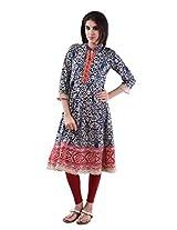AARR cotton Blue 3/4th sleeves kurta for women