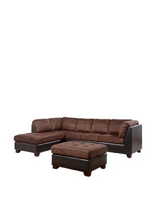 Abbyson Living Channa Sectional Sofa And Ottoman, Dark Truffle