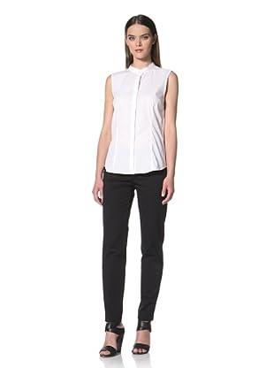 JIL SANDER NAVY Women's Sleeveless Button Front Shirt (White)