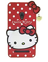 MACC Designer Soft Back Cartoon Cover Case Silicon 3D For Asus Zenfone 5 A501CG - HK With Pendant - Red