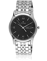 1636Sm01 Silver/Black Analog Watch