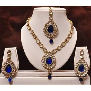 Dark blue kundan necklace set