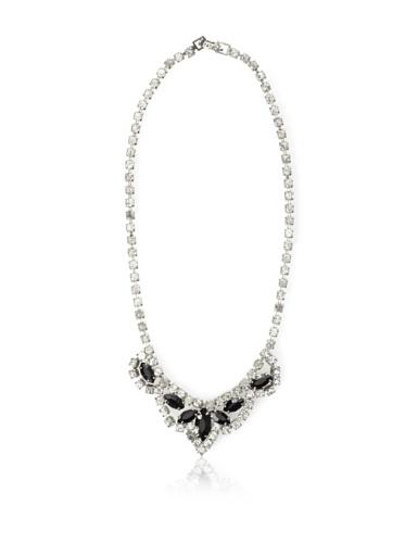Lulu Frost 1940's Art Deco Onyx Necklace, Silver
