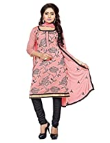 DivyaEmporio Cotton Silk Women's Salwar Suit Dress Material (DE-019_ Pink)