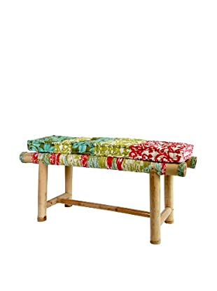 Bamboo Bench With Cushion, Retro