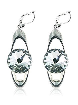 Crystal from Swarovski Pendientes Rivoli Metal Plateado