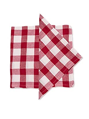 Set of 4 Celia Large Plaid Napkins, Red/White