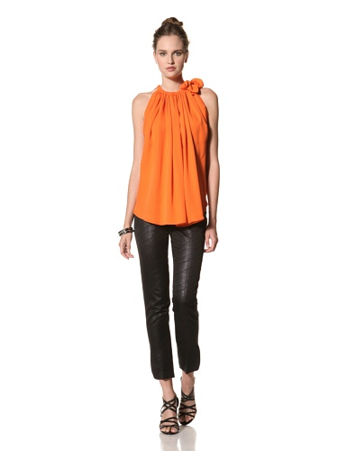 Juan Carlos Obando Women's Silk Sleeveless Top (Orange)