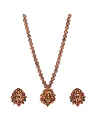 Jeweleteria Jade Stones Gold Plated Metal Alloy Necklace Set For Women - B00MGRG4XC