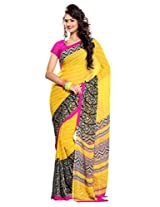 Ethnic Queen Georgette Yellow Colour Saree