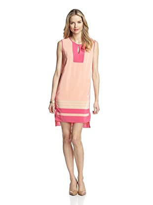Magaschoni Women's Stripe Blocked Tunic Dress (Coral Reef)