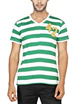 Paani Puri Men's V-Neck T-Shirt (2120802084_Green_X-Large)