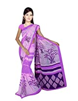 Sonal Trendz Purple Color Printed Georgette Saree with Blouse