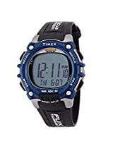 Timex Men's T5E241 Ironman 100-Lap Black and Blue Resin Strap Watch