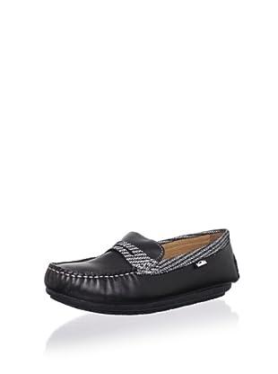 Venettini Kid's Savor Moc Loafer (Toddler/Little Kid/Big Kid) (Black Leather/Black Mesh)