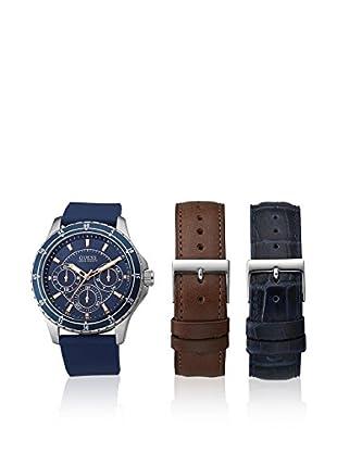 Guess Uhr mit japanischem Mechanikuhrwerk Man Longitude Silver Tone mit zwei Armbändern silberfarben 44 mm