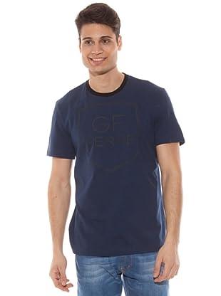 Gianfranco Ferré Camiseta Logo En Relieve (Azul)