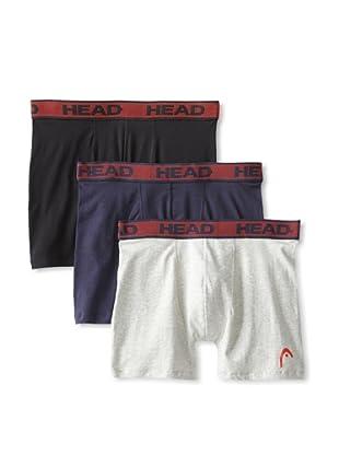 HEAD Men's Stretch Boxer Brief - 3 Pack (Black/Heather Grey/Navy)