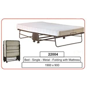 Woodness Single Metal Folding Bed with Mattress - 22004