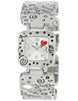 "Golden Classic Women's 7205_silver ""Red Heart"" Metal Bezel and Band With Red Hearts Watch"