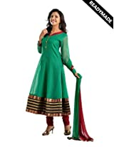 Readymade green and maroon anarkali salwar suits in moonga check fabric